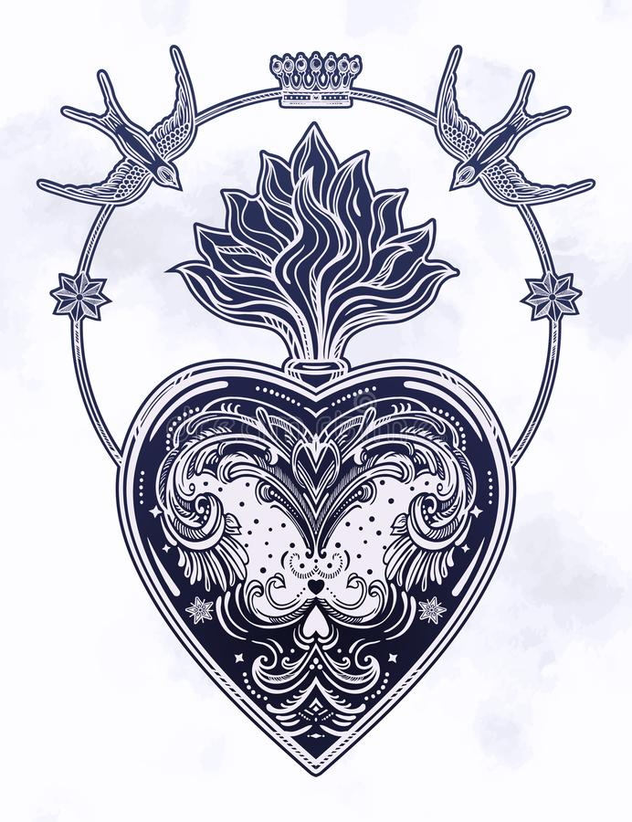 Ornate decorative heart with flame stock illustration