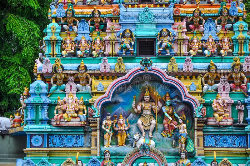 Ornate details of Sri Mariamman Temple in Chinatown district in Singapore stock photo