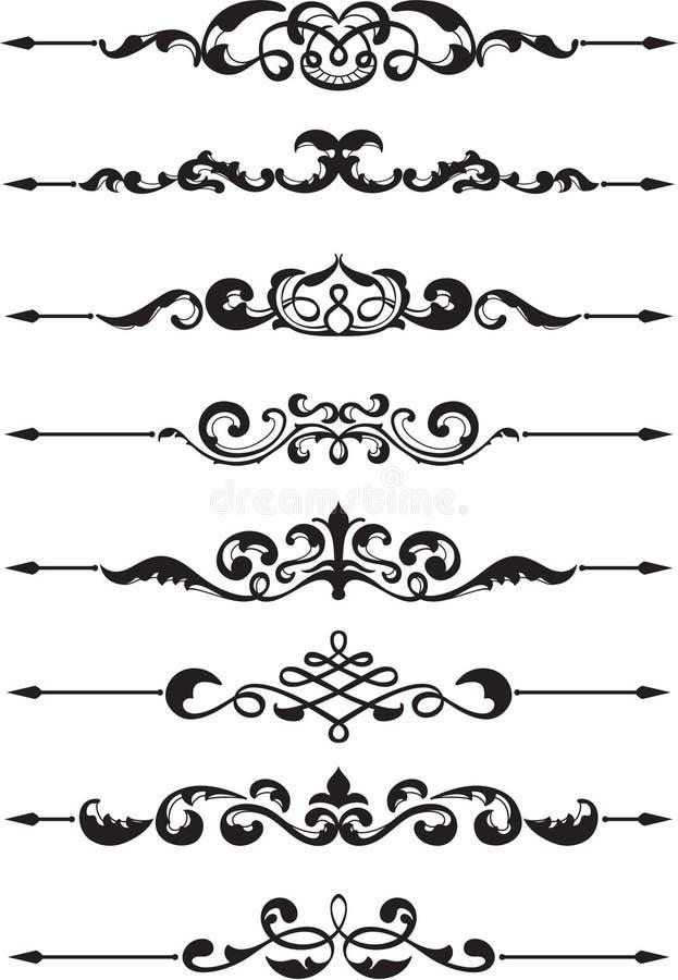 Ornate divide lines. On white vector illustration