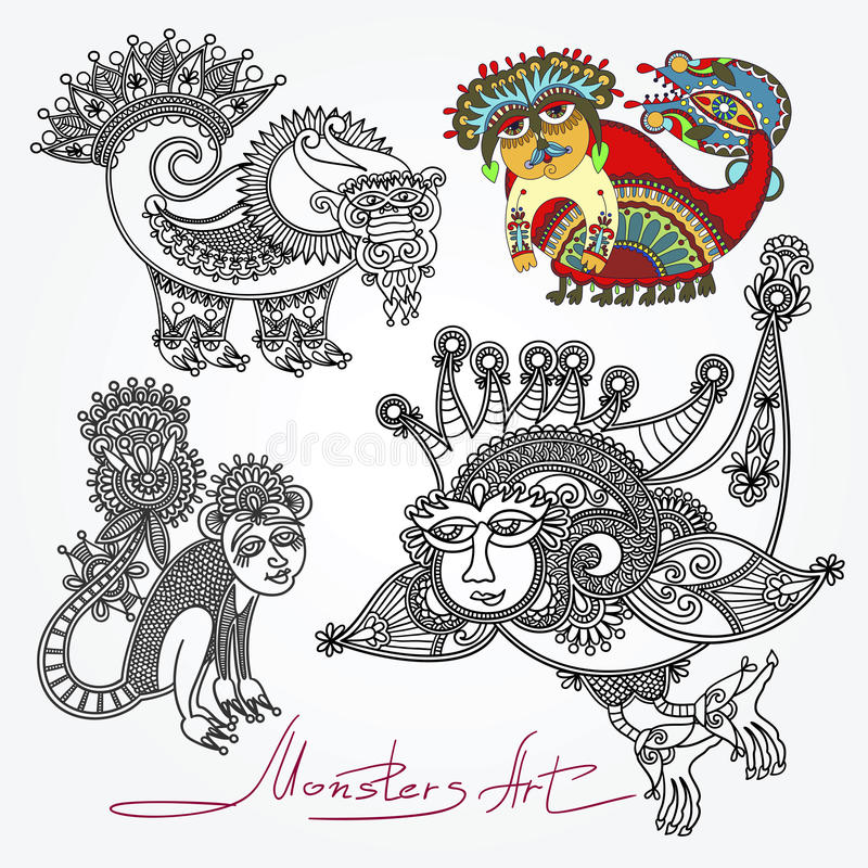 Free Ornate Doodle Fantasy Monster Personage Royalty Free Stock Photos - 44946438