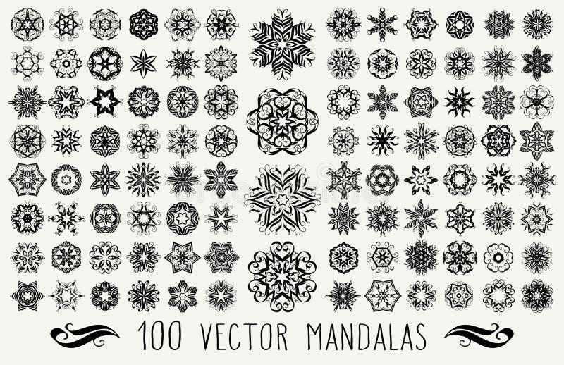Ornate doodle mandalas vector illustration