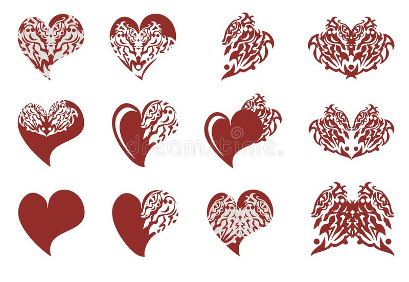 Ornate dragon wing and dragons hearts. Set of red hearts and dragons elements on a white background vector illustration