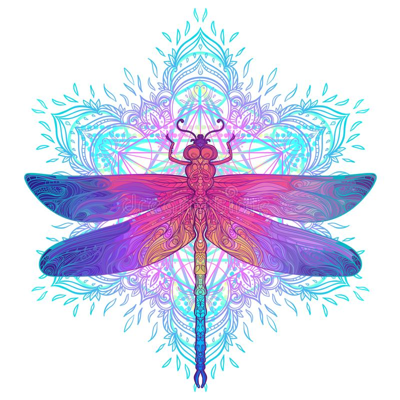 Free Ornate Dragonfly Over Colorful Round Mandala Pattern. Ethnic Pat Royalty Free Stock Photos - 101860288