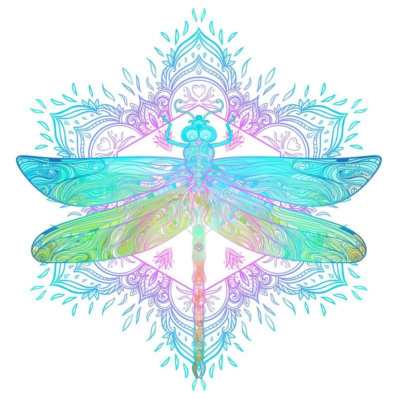 Ornate dragonfly over colorful round mandala pattern. Ethnic pat. Terned vector illustration. African, indian, totem, tribal, zentangle design. Sketch for tattoo royalty free illustration