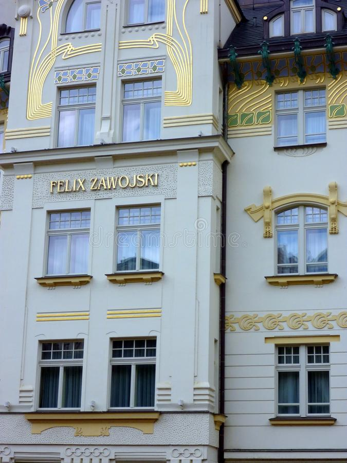 Ornate Duck Blue Townhouses, Prague, Czech Republic stock photos