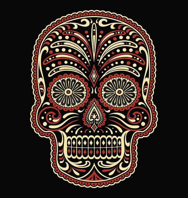 Ornate dwa dni koloru martwego wektora czaszki cukru zdjęcia royalty free