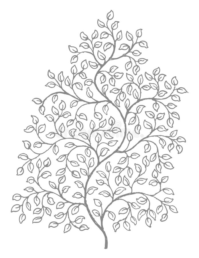 Ornate, elegant curly vines illustration. A retro style ink drawing of vines with leaves, reminiscent of old woodcut illustrations vector illustration