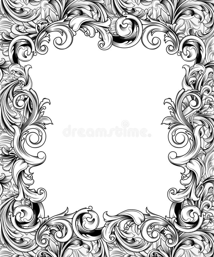 Ornate Engraved Baroque Frame. Pen drawing of an ornate frame or border of baroque flourishes royalty free illustration