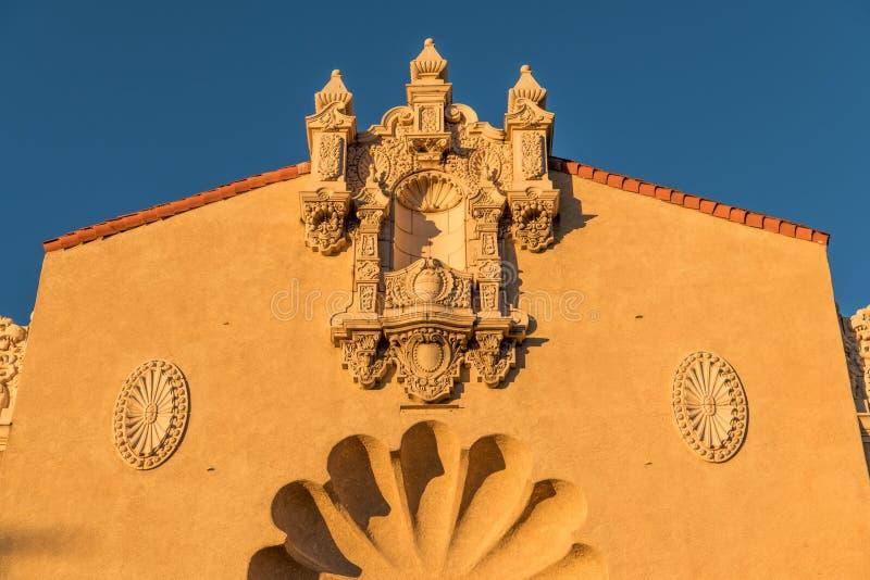 Ornate facade of an historic Spanish renaissance style building in Santa Fe, New Mexico royalty free stock photos