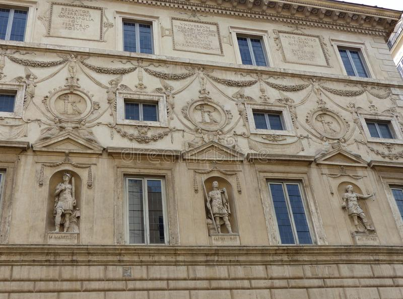 Ornate facade of statues at Palazzo Spada in Rome, Italy. stock image