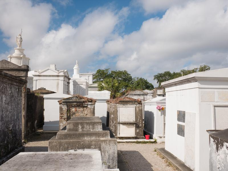 Ornate family mausoleums in St. Louis Cemetery  1 in New Orleans, Louisiana, United States.  royalty free stock images