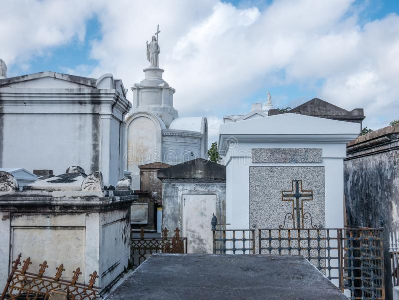 Ornate family mausoleums in St. Louis Cemetery  1 in New Orleans, Louisiana, United States.  stock photo