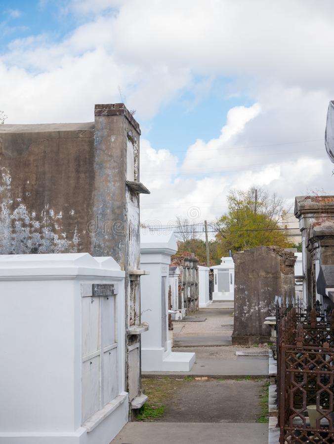 Ornate family mausoleums in St. Louis Cemetery  1 in New Orleans, Louisiana, United States.  stock photography
