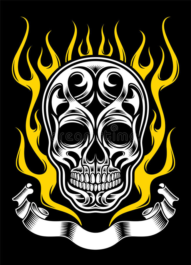 Ornate Flame Skull Tattoo stock illustration