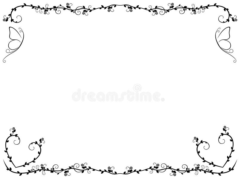 Ornate floral frame with butterflies royalty free illustration