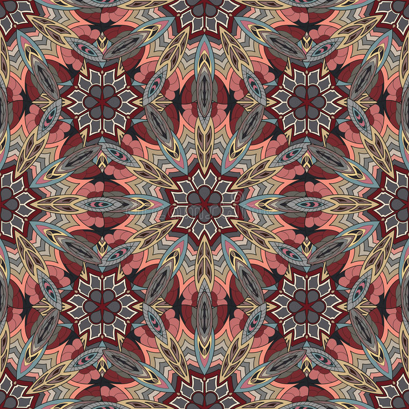 Ornate floral seamless texture, endless pattern with vintage mandala elements. Can be used for wallpaper, pattern fills, web page background, surface textures royalty free illustration