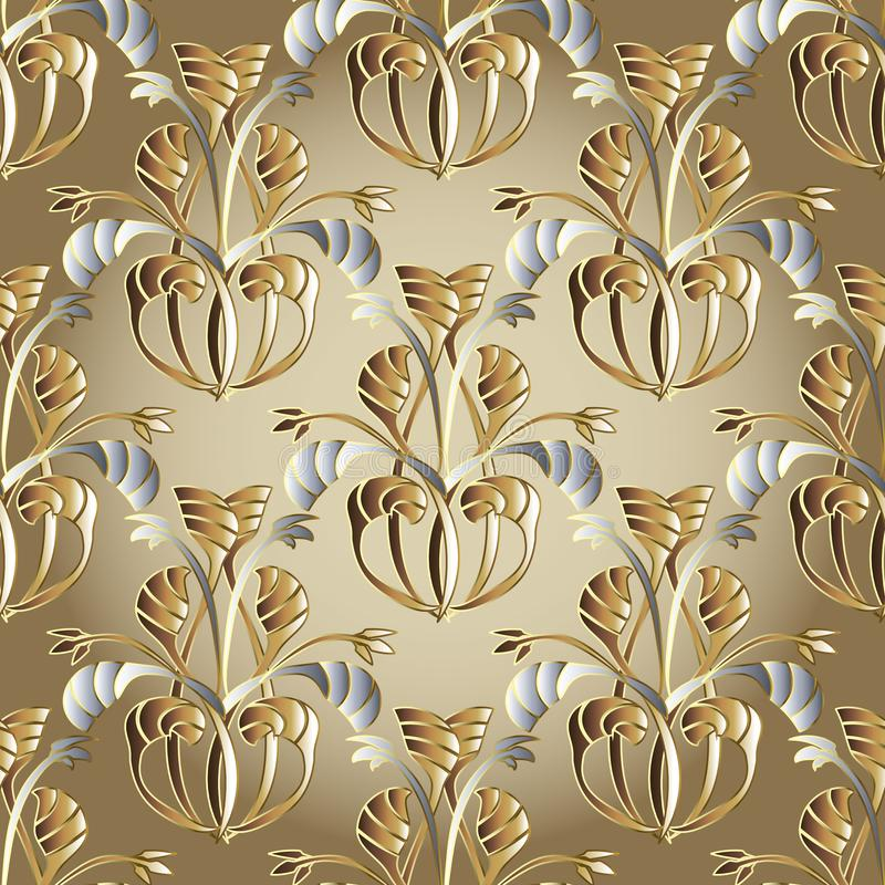 Ornate floral vector seamless pattern. Beige ornamental background with vintage hand drawn abstract gold silver flowers, leaves, royalty free illustration