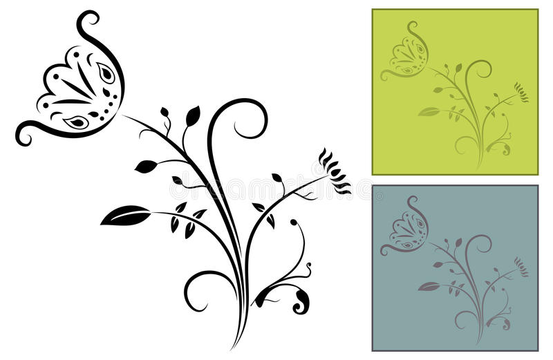Ornate Flower Design. A ornate flower design with decorative flourishes and swirls with two coloured examples stock illustration