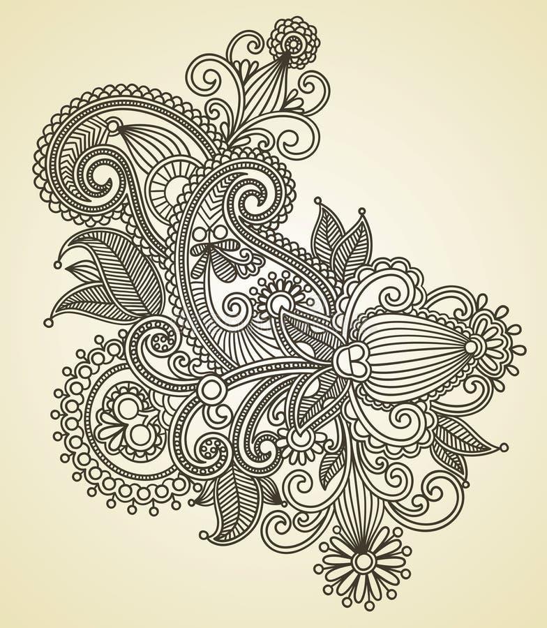 Ornate flower design stock illustration