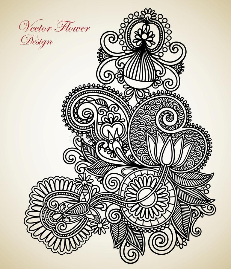 Download Ornate flower design stock vector. Image of drawing, element - 23936832