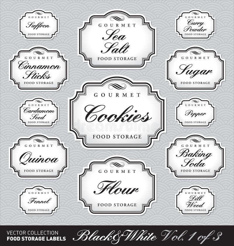 Free Ornate Food Storage Labels Vol1 (vector) Royalty Free Stock Image - 19010626