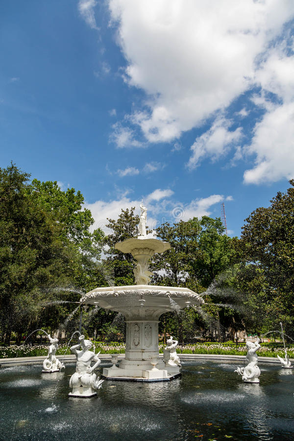 Ornate Fountain in Forsyth Park. Beautiful old fountain in Forsyth Park in Savannah, Georgia stock images