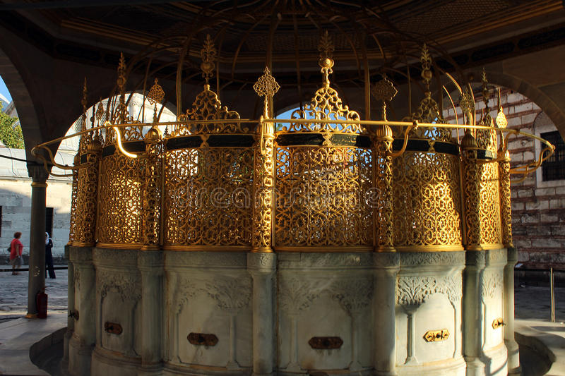 Ornate fountain. For ritual ablution before entering the Hagia Sophia in Istanbul, Turkey stock image