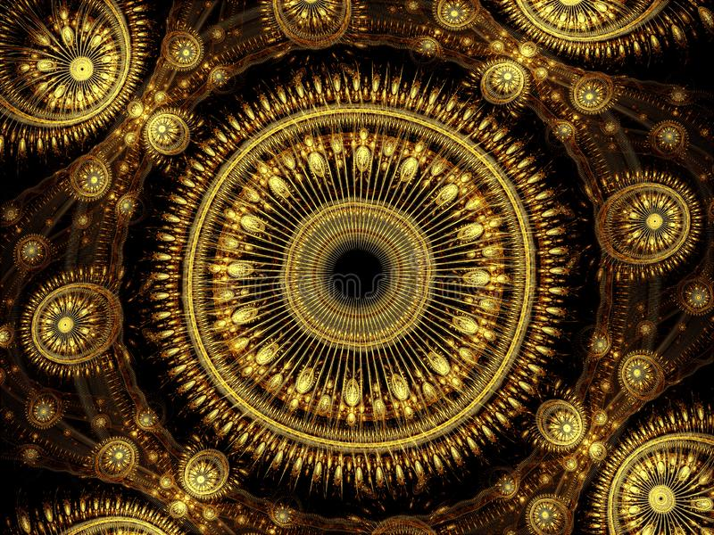 Ornate fractal mandala - abstract digitally generated image stock image