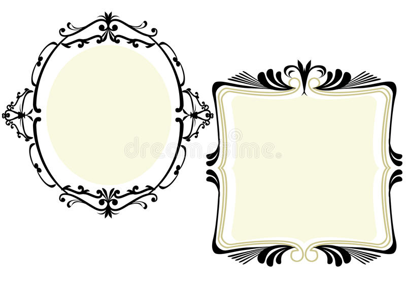 Ornate frame. With scrolls and copy space stock illustration