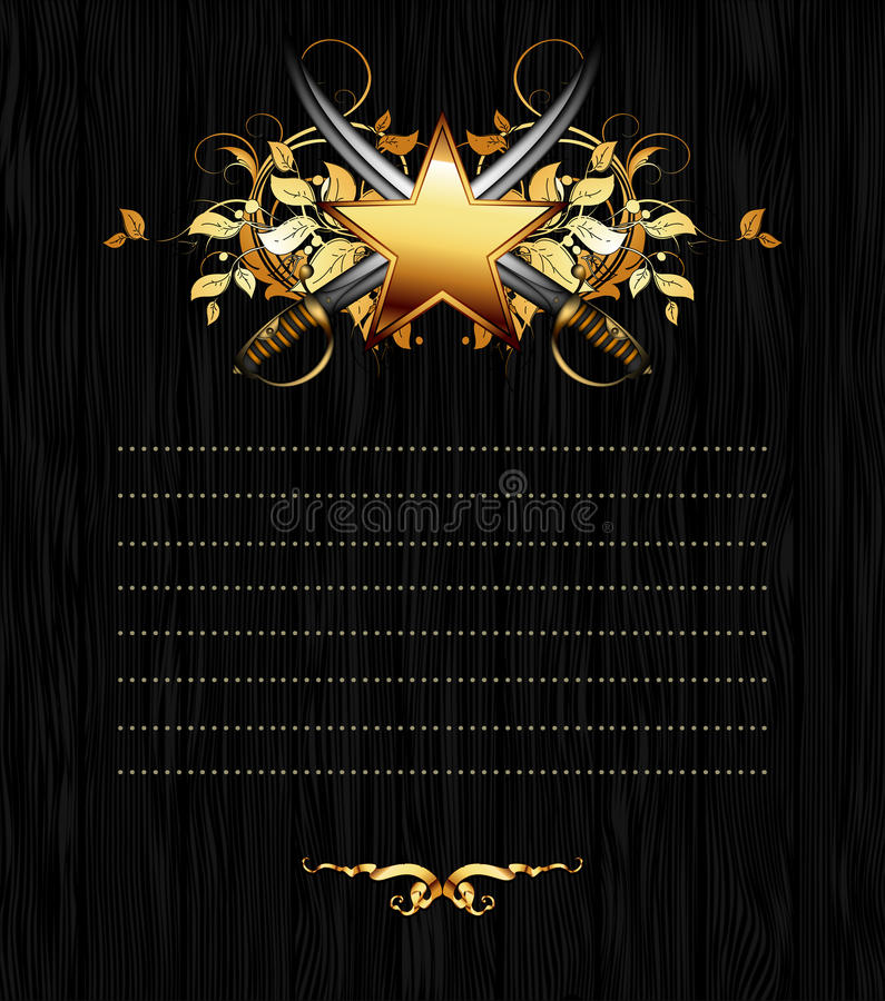 Ornate frame with star and sabers vector illustration
