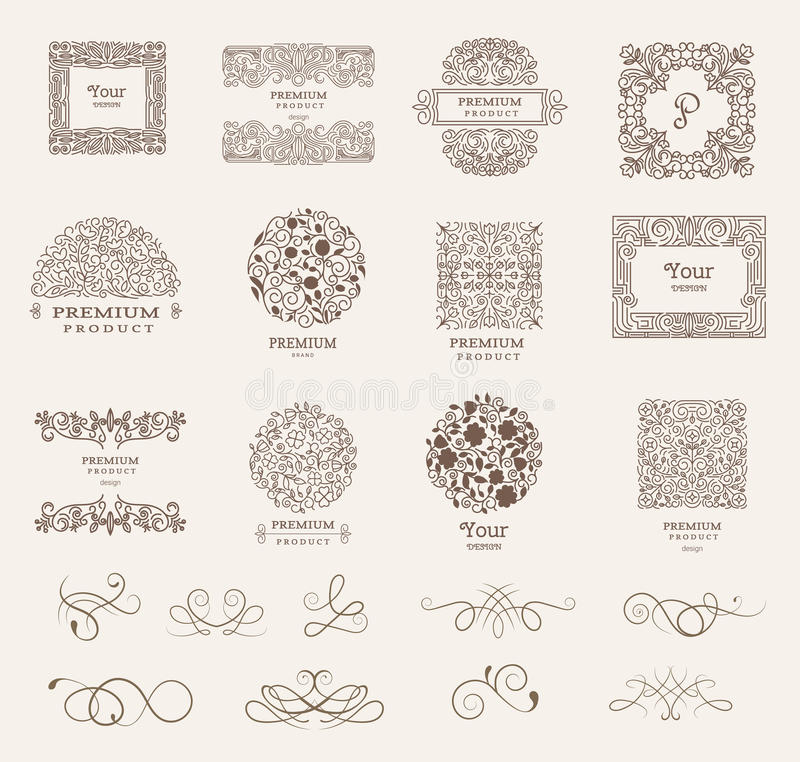 Ornate frames and Collection of design elements,labels,icon for packaging,design of luxury products. vector. Illustration royalty free illustration