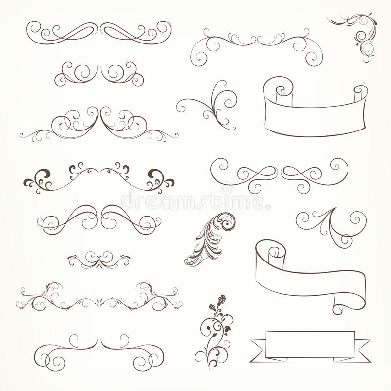 Ornate Frames and Scroll Elements stock illustration