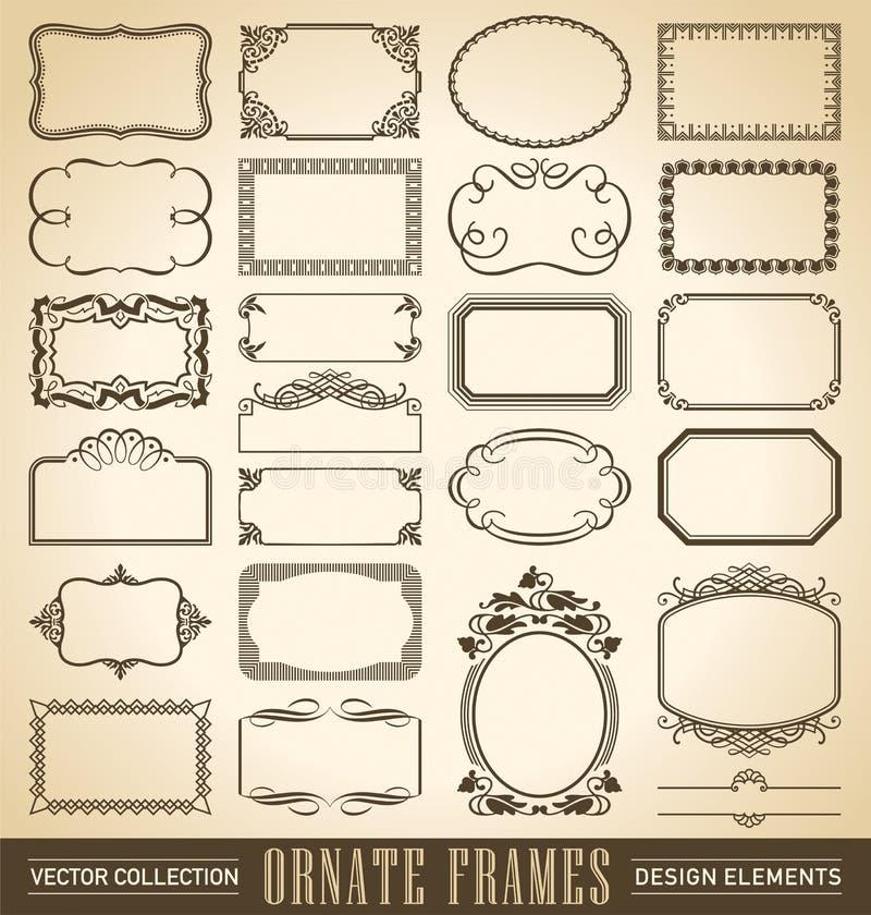 Ornate frames set (vector). Vintage set of antique ornate frames with decorative corner elements vector illustration