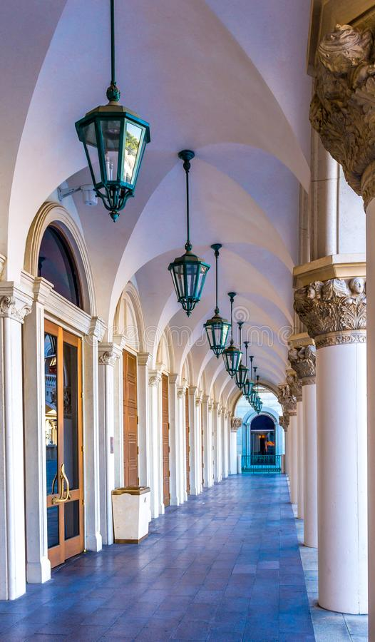 The ornate front doors and columned walkway of the front of the Venetian stock photos