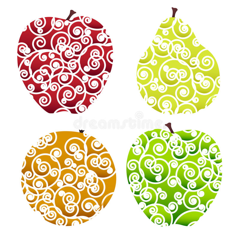 Download Ornate fruits icons stock vector. Image of ornate, sweet - 30797437