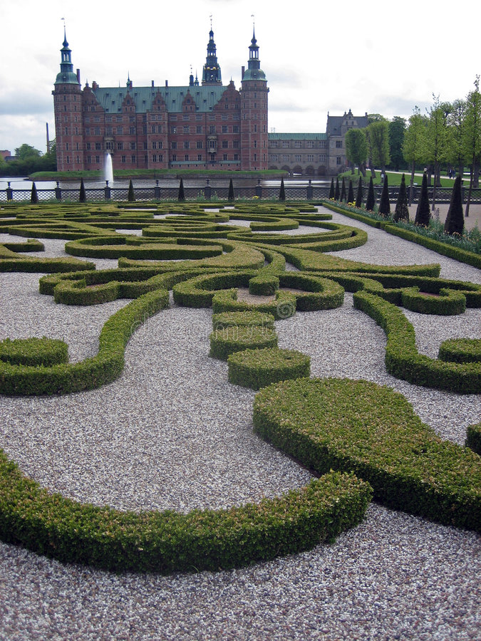 Ornate Garden and Castle in Denmark royalty free stock photo