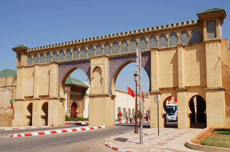 Ornate gate and mausoleum of Moulay Ismail in Meknes stock photos