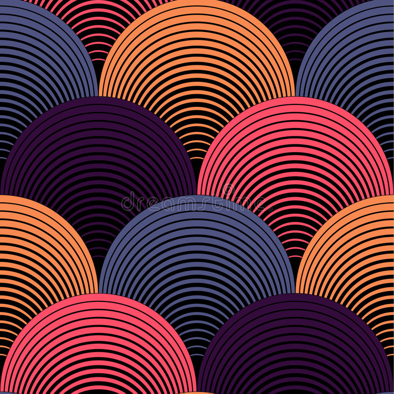 Ornate Geometric Petals Grid Vector Seamless Pattern stock illustration