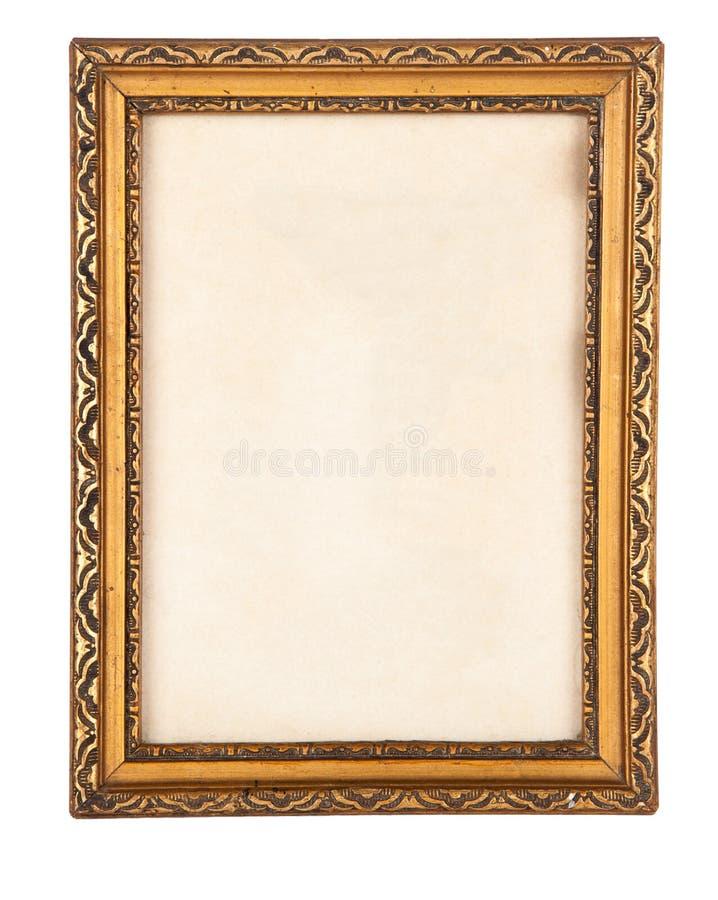 Ornate gilded antique pirture frame isolated on white. stock image