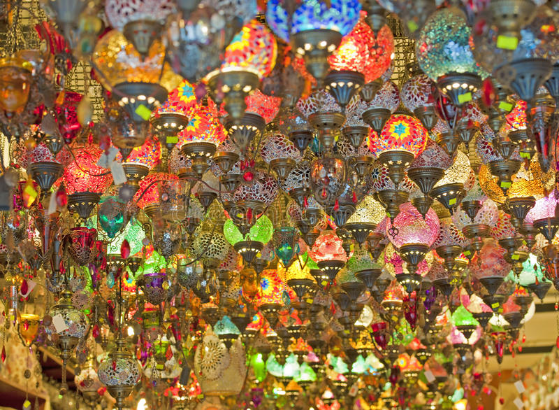 Download Ornate Glass Lights At A Market Stall Stock Image - Image: 18903499