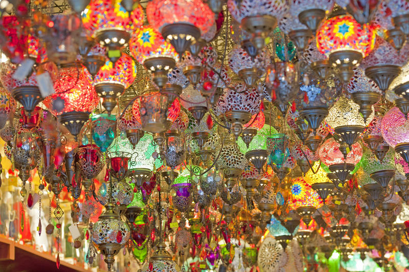 Ornate glass lights at a market stall