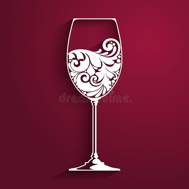 Ornate glass of wine. Vector element for wine list, menu design template. Vector illustration. Ornate glass of wine. Vector element for wine list, menu design vector illustration