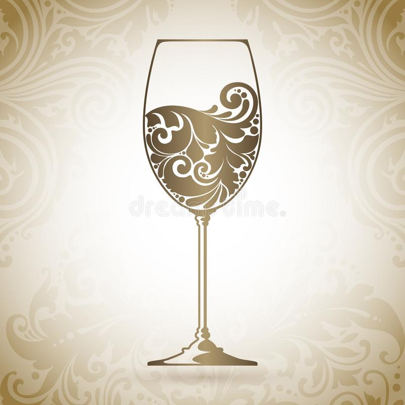 Ornate glass of wine. Vector element for wine list, menu design template. Decorative icon on a background with pattern. Ornate glass of wine. Vector element for stock illustration