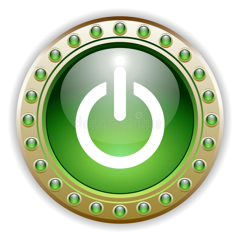 Ornate Glossy Power Button stock photography