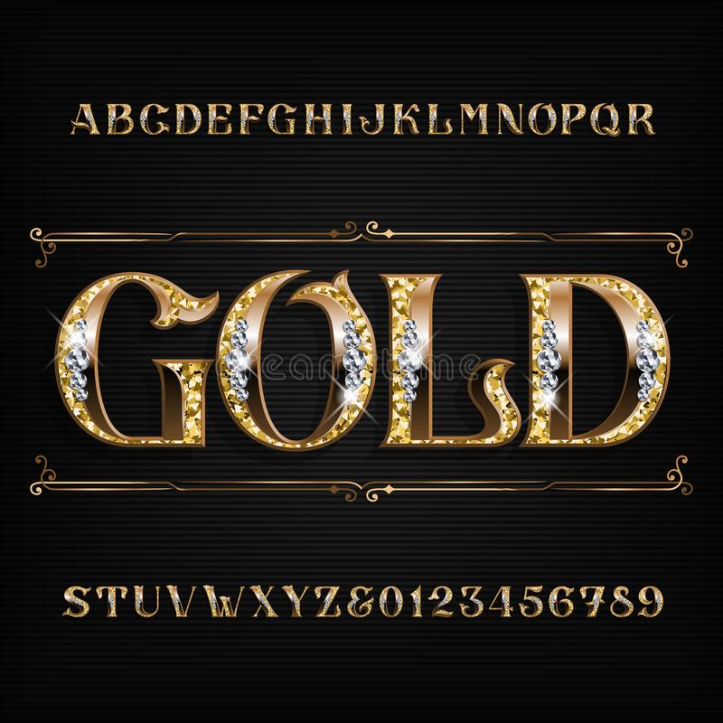 Free Ornate Gold Alphabet Font. Jeweler Golden Letters And Numbers With Diamond Gemstones. Stock Images - 130830924