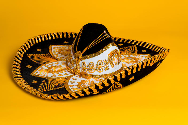 Ornate Gold, Black And White Mexican Sombrero Stock Photo