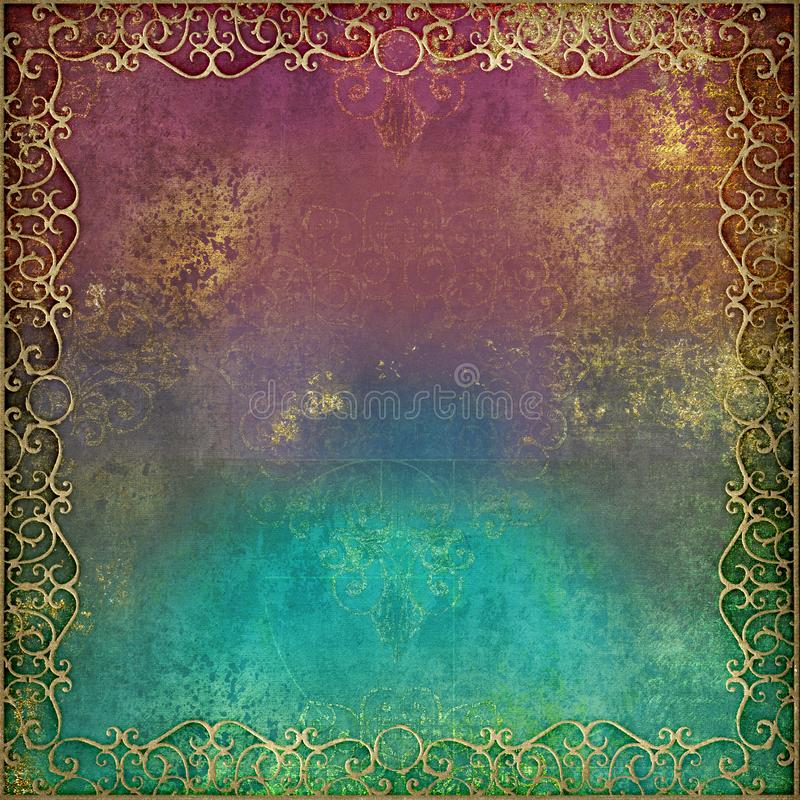 Arabian Nights - ornate gold border with vibrant grunge background royalty free stock photos