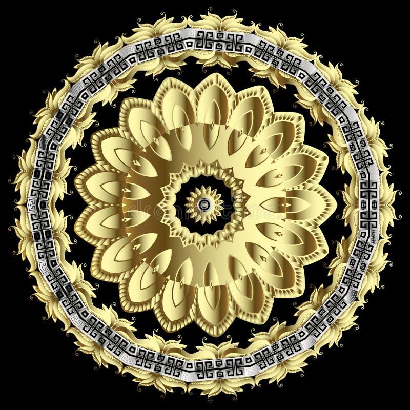 Ornate gold floral 3d vector mandala pattern. Ornamental modern greek background. Round vintage 3d ornament with greek stock illustration