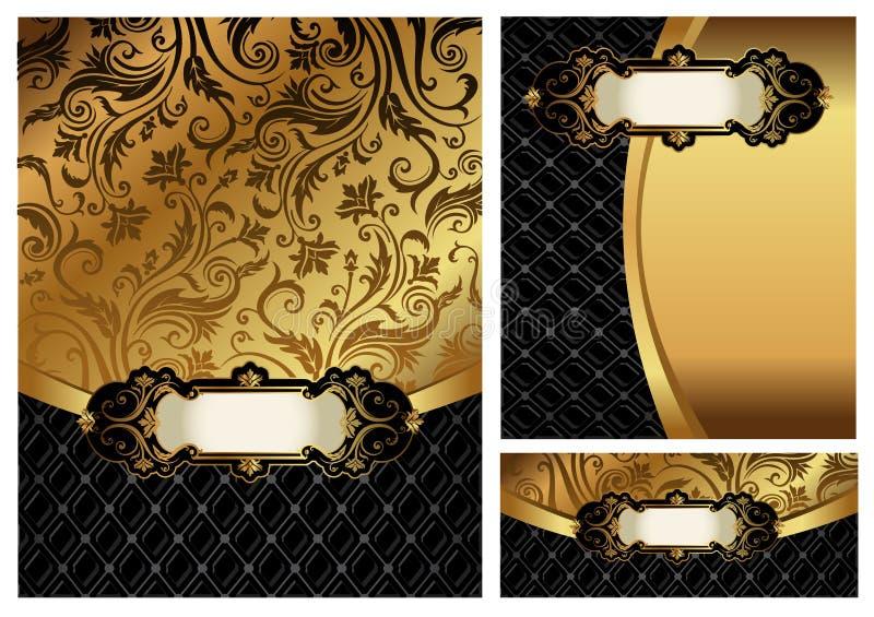 Ornate golden menu cover stock illustration