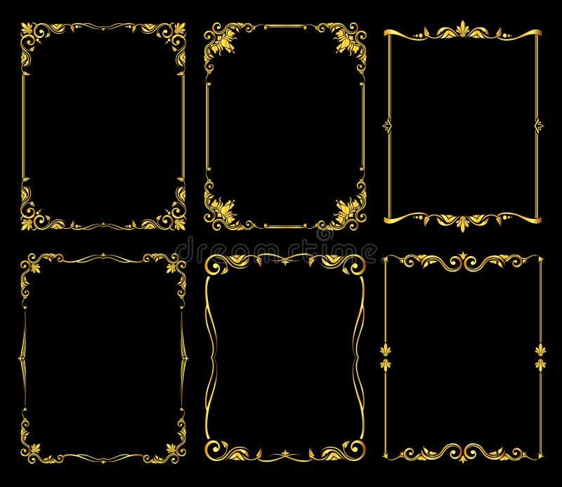 Ornate golden vector frames set over black background royalty free illustration